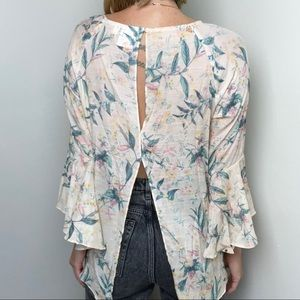 Lc LAUREN CONRAD Floral Bell Sleeve Blouse